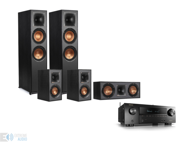 Denon AVR-X1600H + Klipsch R-820F 5.0 szett, fekete