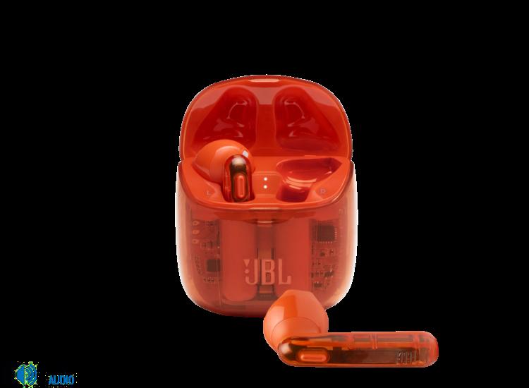 JBL TUNE 225TWS Ghost Edition fülhallgató, átlátszó-narancs + JBL szövetmaszk