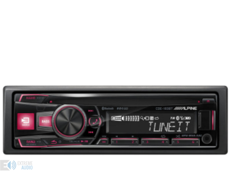 Alpine CDE-183BT CD fejlett Bluetooth® funkcióval piros