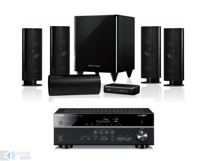 Harman Kardon HKTS 65 5.1 hangfalszett és Yamaha RX-V483 fekete 5.1 házimozi szett