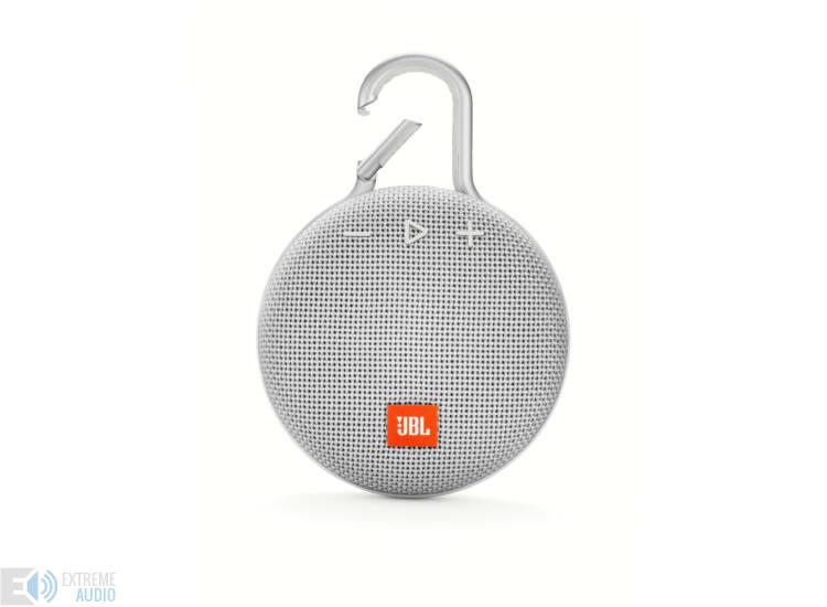 JBL Clip 3 vízálló Bluetooth hangszóró (Steel White) fehér