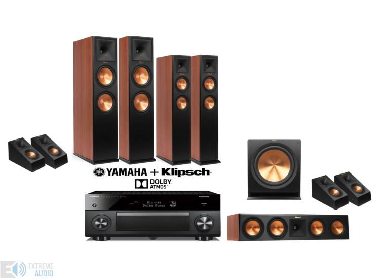 Klipsch RP-280F 5.1.4 cseresznye + Yamaha RX-A2060 fekete Dolby Atmos szett