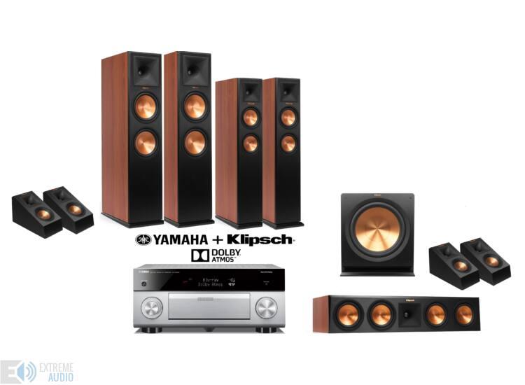 Klipsch RP-280F 5.1.4 cseresznye + Yamaha RX-A2060 titán Dolby Atmos szett