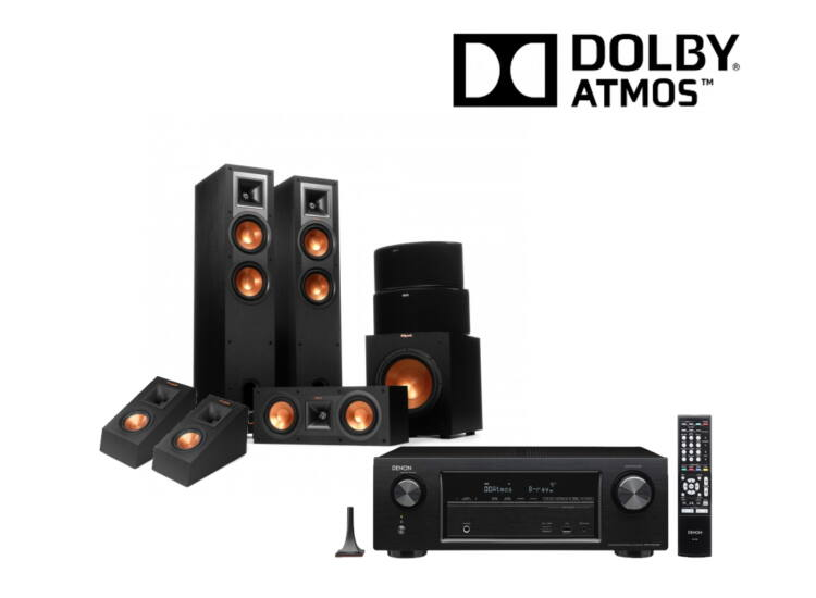 Klipsch R-26F 5.1.2  Dolby Atmos szett, Denon AVR-X1400 erősítővel